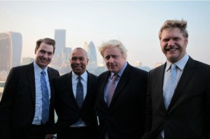 Left to Right: MassChallenge CEO John Harthorne, Governor of Massachussetts Deval Patrick, Mayor of London Boris Johnson, MassChallenge UK Managing Director Chris Howard